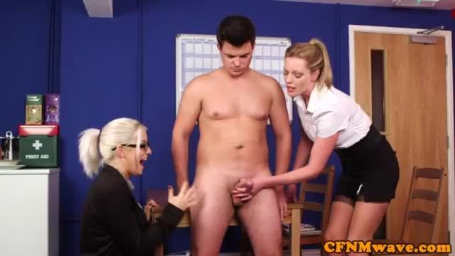 Cfnm babes humiliating a guy with hard dick